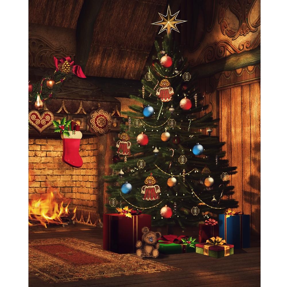 Christmas Hearth.Christmas Hearth Printed Backdrop