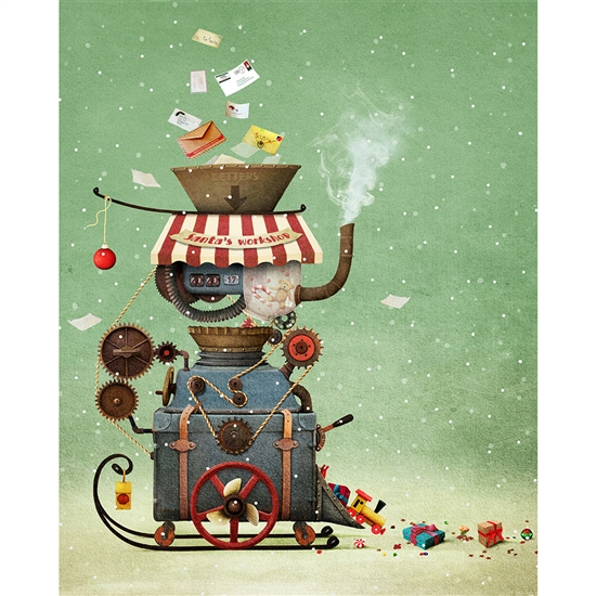 Santa's Workshop Machine Printed Backdrop