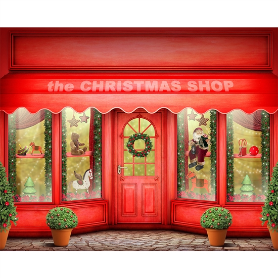 Christmas Toy Store Printed Backdrop