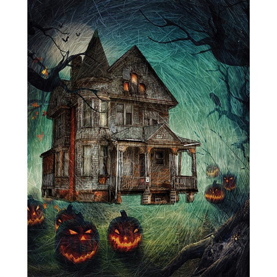 Haunted House Printed Backdrop