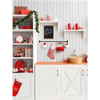 Christmas Kitchen Printed Backdrop