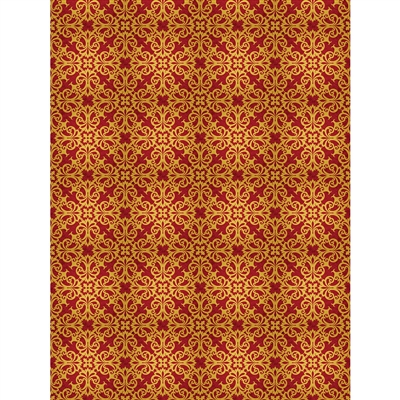 Red and Gold Gilded Damask Printed Backdrop