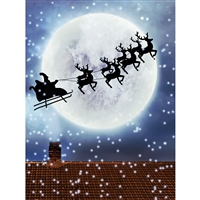 Moon and Santa Sleigh Printed Backdrop