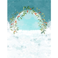 Mistletoe Wreath Watercolor Printed Backdrop