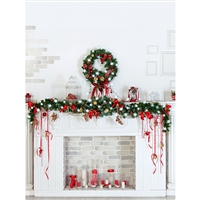Elegant Christmas Fireplace Printed Backdrop