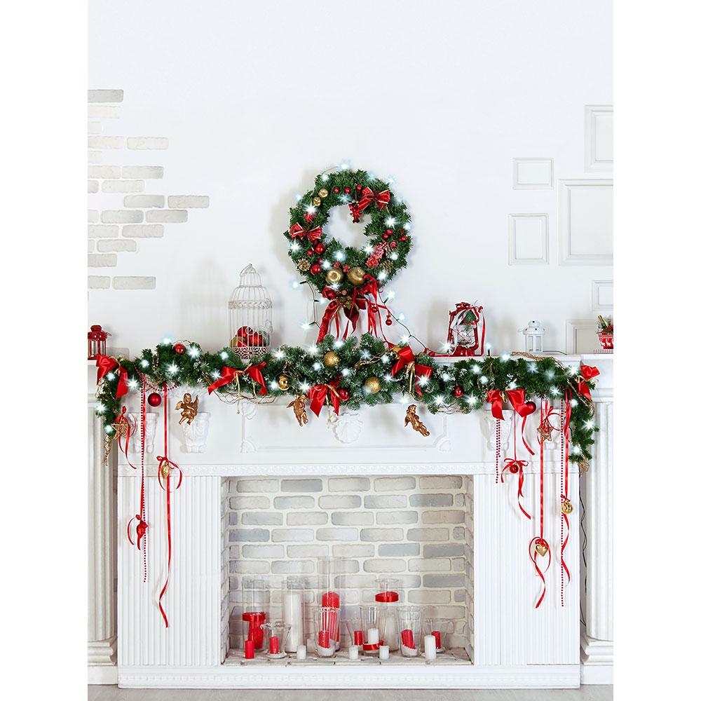 Elegant Christmas Fireplace Printed Backdrop