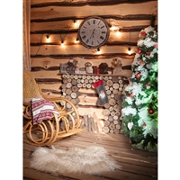 Cozy Christmas Log Cabin Printed Backdrop