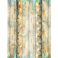 Vintage Blue Christmas Planks Printed Backdrop