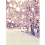 Warm Snowy Bokeh Woods Printed Backdrop