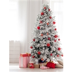 Modern White Christmas Tree Printed Backdrop