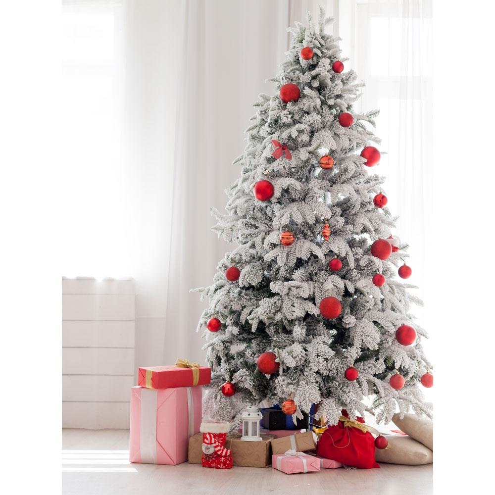 White Christmas Tre: Modern White Christmas Tree Printed Backdrop