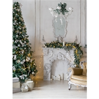 Wainscoting Antique White Christmas Fireplace