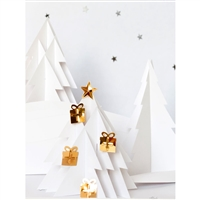 Paper Cut White Christmas Tree Printed Backdrop