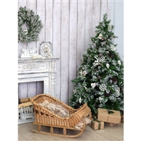 Wicker Sleigh Christmas Tree Printed Backdrop