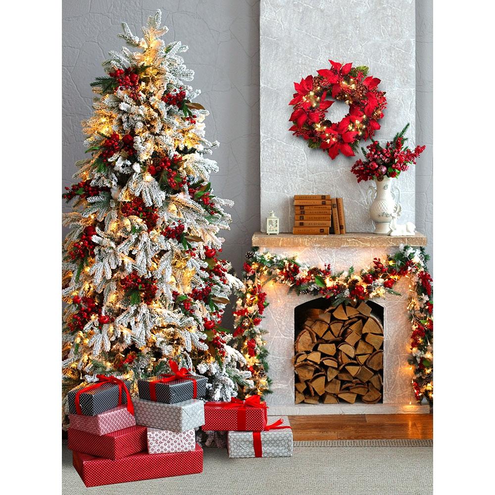 Christmas Fireplace.Christmas Fireplace Printed Backdrop