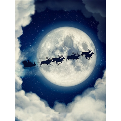 Santa Sleigh in Sky Printed Backdrop