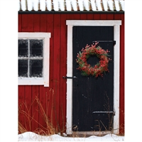 Christmas Red Barn Backdrop