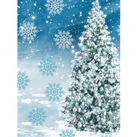 Wonderland Christmas Tree Printed Backdrop