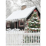 Frosty Christmas Cabin Printed Backdrop