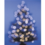 Blue Bokeh Christmas Tree Printed Backdrop