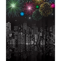 City on New Year's Eve Printed Backdrop