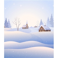 Snow Covered Town Printed Backdrop