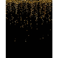 Black and Gold Streamers Printed Backdrop