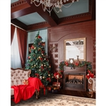 Formal Christmas Room Printed Backdrop