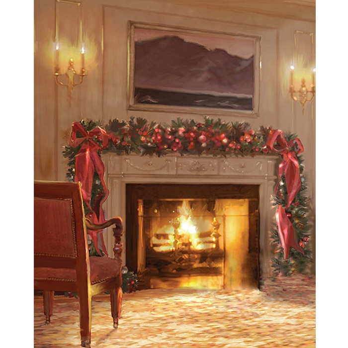 Christmas Fireplace Printed Backdrop | Backdrop Express