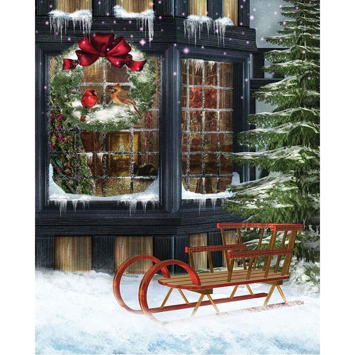 christmas sled printed backdrop - Christmas Sled