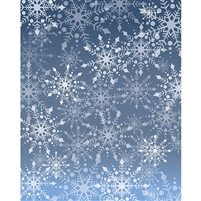 Blue & Gray Snowflakes Printed Backdrop