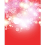 Red Snowflake Bokeh Printed Backdrop