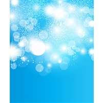 Blue Snowflake Bokeh Printed Backdrop