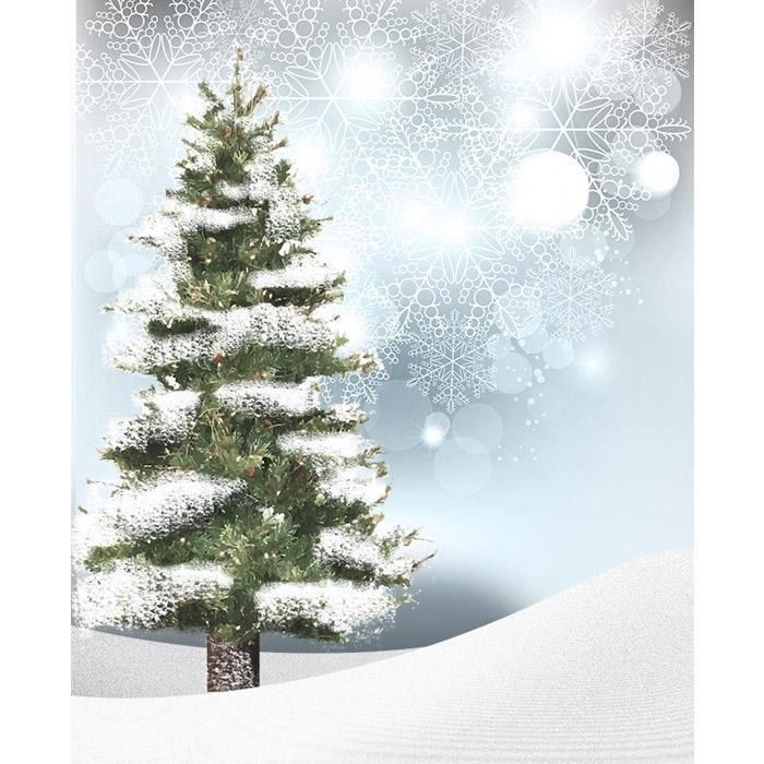 Snowy Christmas Tree.Snowy Christmas Tree Printed Backdrop