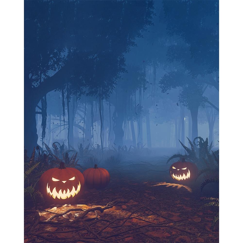 Evil Jack O Lantern Forest Printed Backdrop Backdrop Express