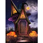 Witch's Halloween House Printed Backdrop