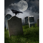 Tombstones at Midnight Printed Backdrop
