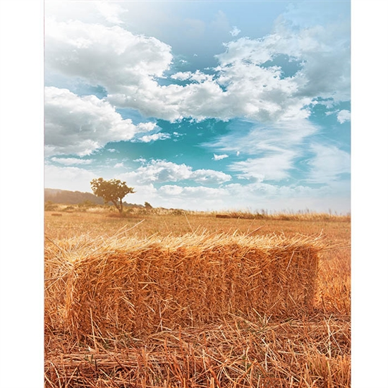 Autumn Hay Stacks Printed Backdrop