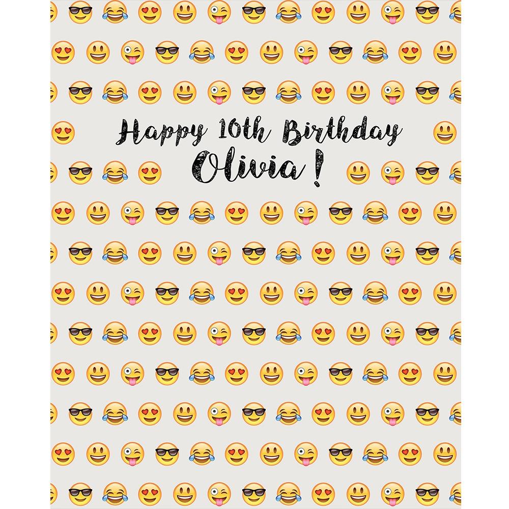 Custom Emoji Birthday Printed Backdrop Backdrop Express