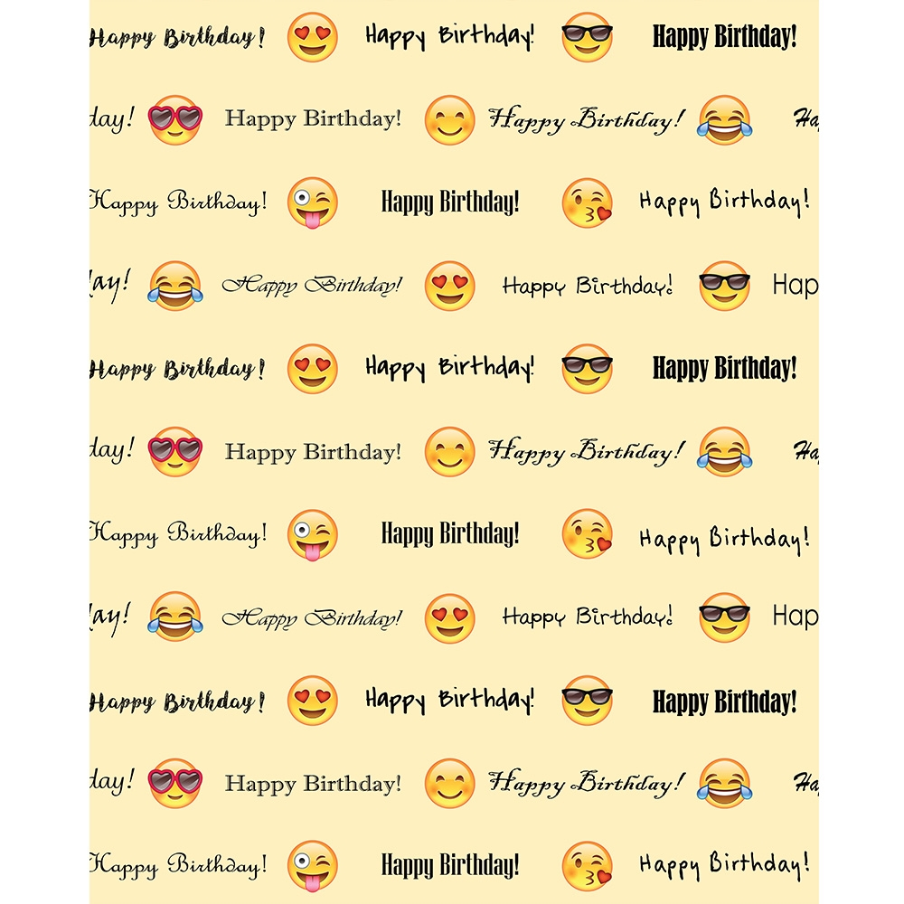Emoji Happy Birthday Printed Backdrop