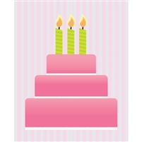 Pink Birthday Cake Printed Backdrop