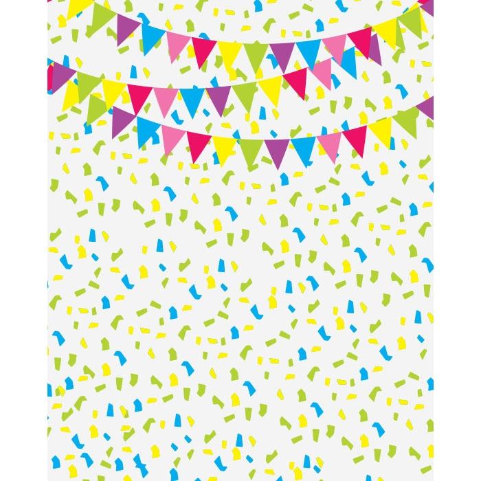 Birthday Banners & Confetti Printed Backdrop