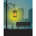 Park Bench at Night Printed Backdrop