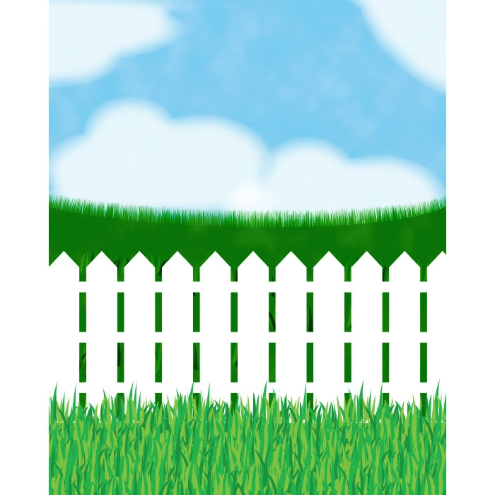 White Picket Fence Printed Backdrop Backdrop Express