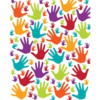 Colorful Handprints Printed Backdrop
