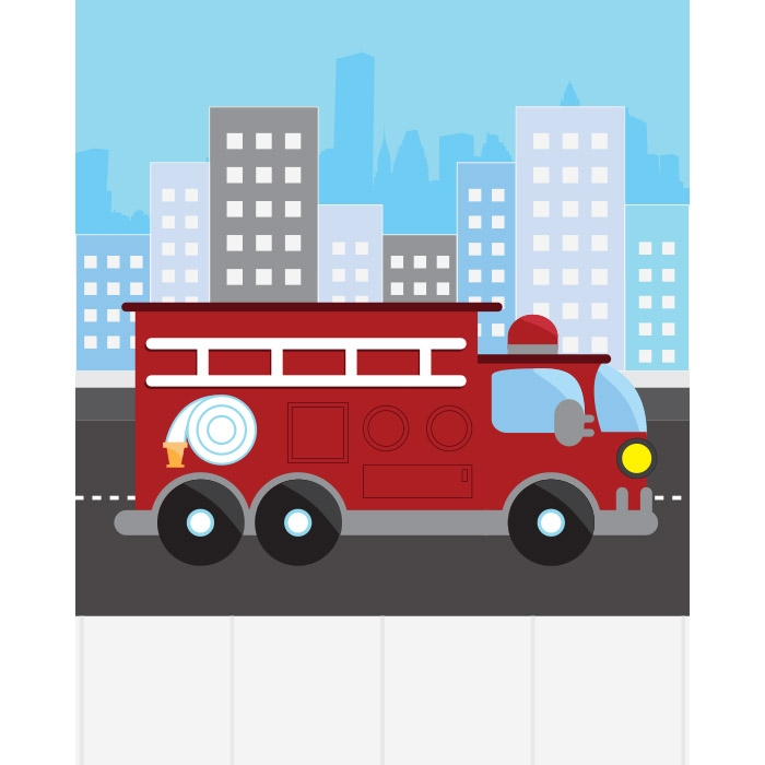 Firetruck Printed Backdrop Backdrop Express