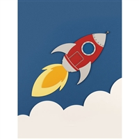 Rocket Ship Printed Backdrop