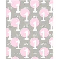 Pink and Gray 1st Birthday Printed Backdrop