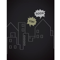 Chalkboard City Printed Backdrop