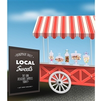 Candy Cart Printed Backdrop